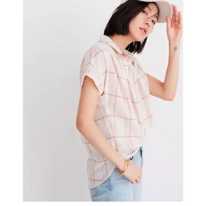 Madewell Fine Plaid Central Popover Shirt Blouse